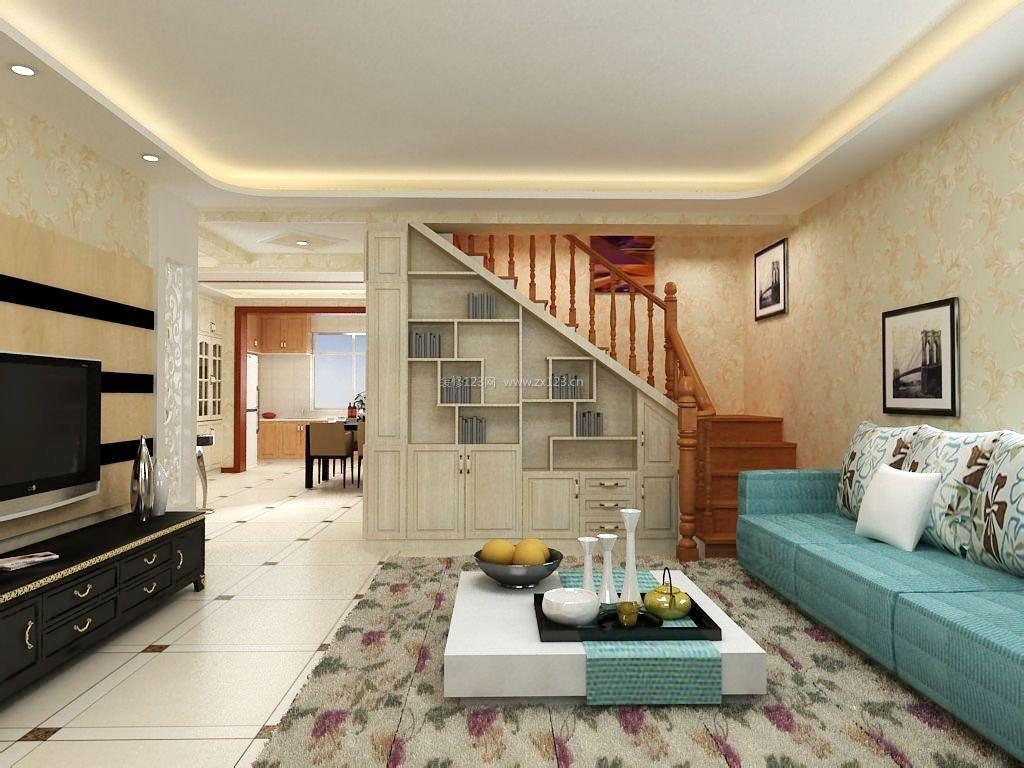 家庭客厅旋转楼梯平面图大全_装修123效果图
