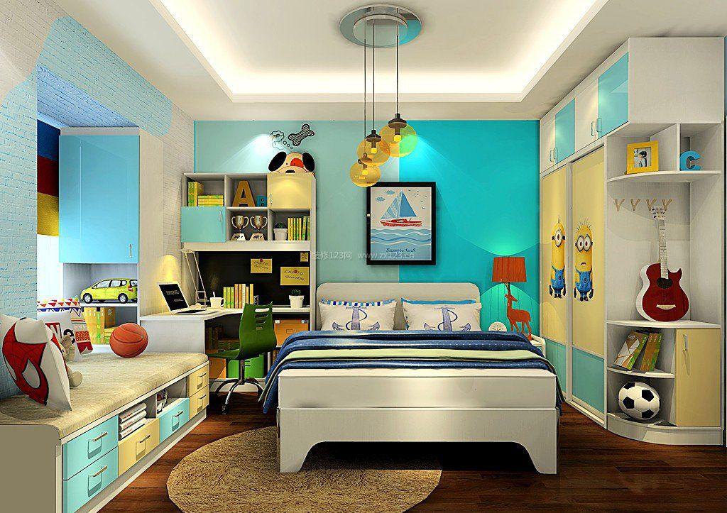 男孩卧室书柜电脑桌一体图片_装修123效果图