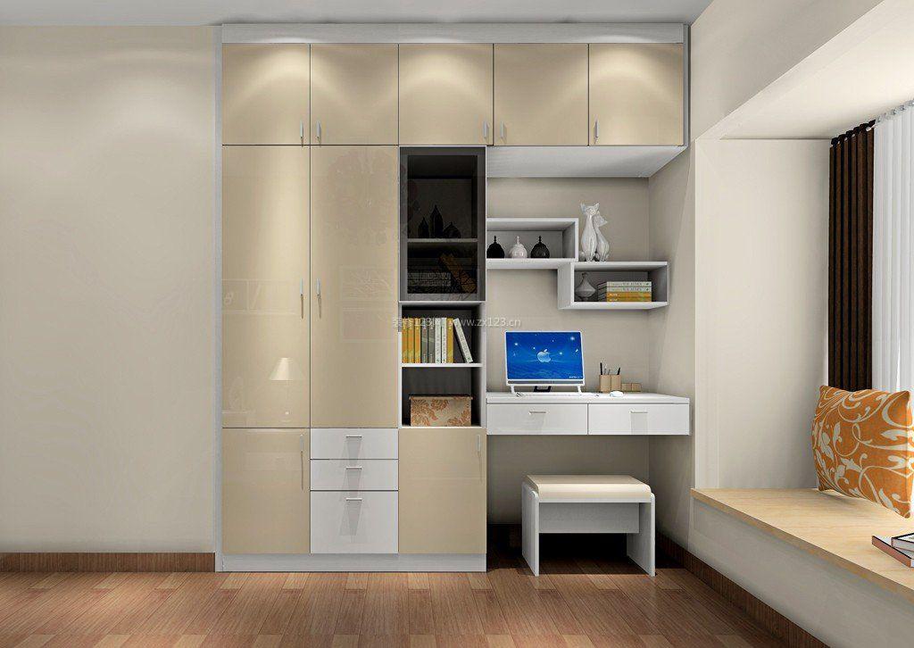 书柜电脑桌一体设计造型图片
