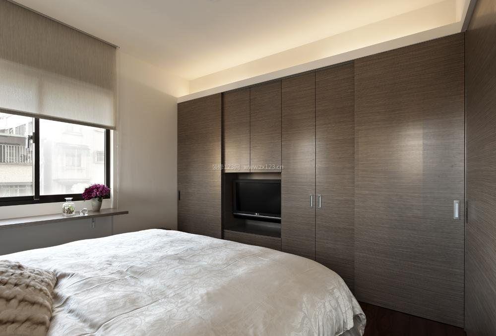 卧室索菲亚衣柜电视柜隐形门图片_装修123效果图