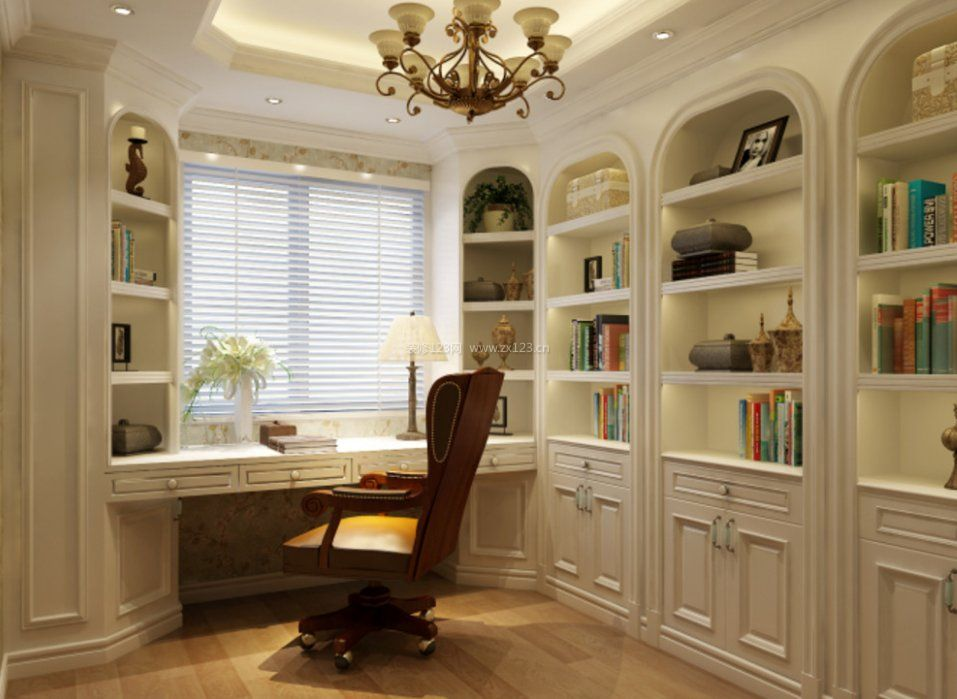 家装效果图 欧式 欧式书房装修书柜电脑桌一体图片 提供者:   ←
