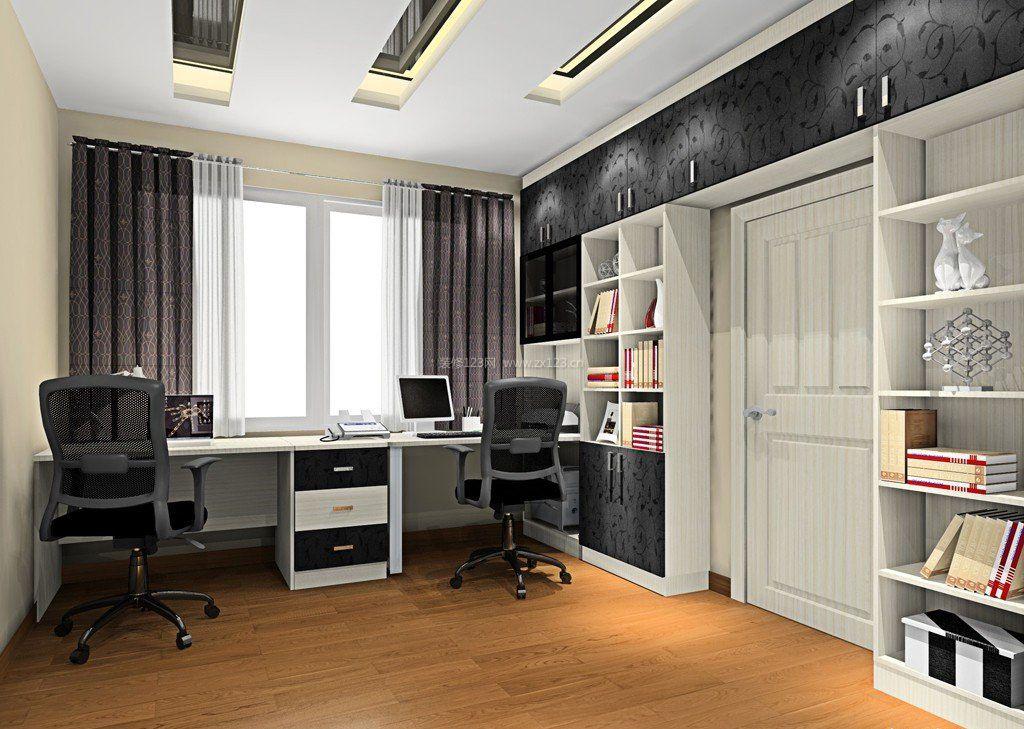 书房室内书柜电脑桌一体图片2017_装修123效果图