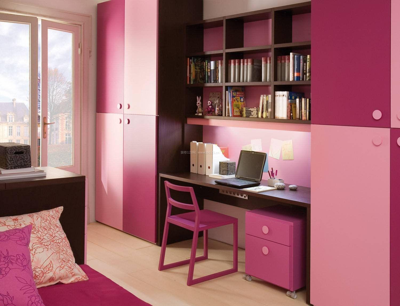 小女生房间书柜电脑桌一体图片_装修123效果图