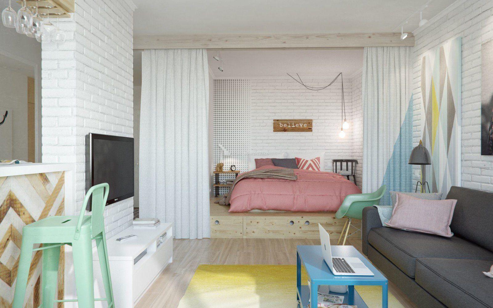 30平米单身小公寓卧室窗帘隔断装修