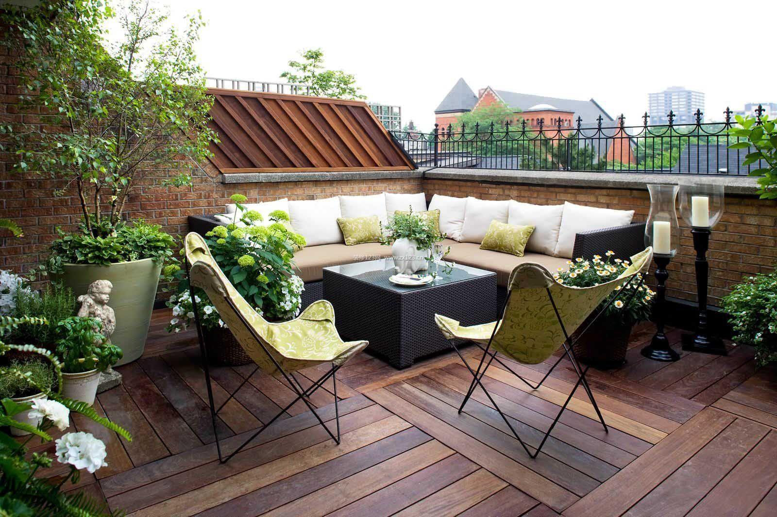 家庭屋顶花园转角沙发装修图片_装信通网效果图