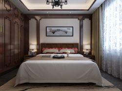 2017新中式主卧室实木衣柜设计效果图图片