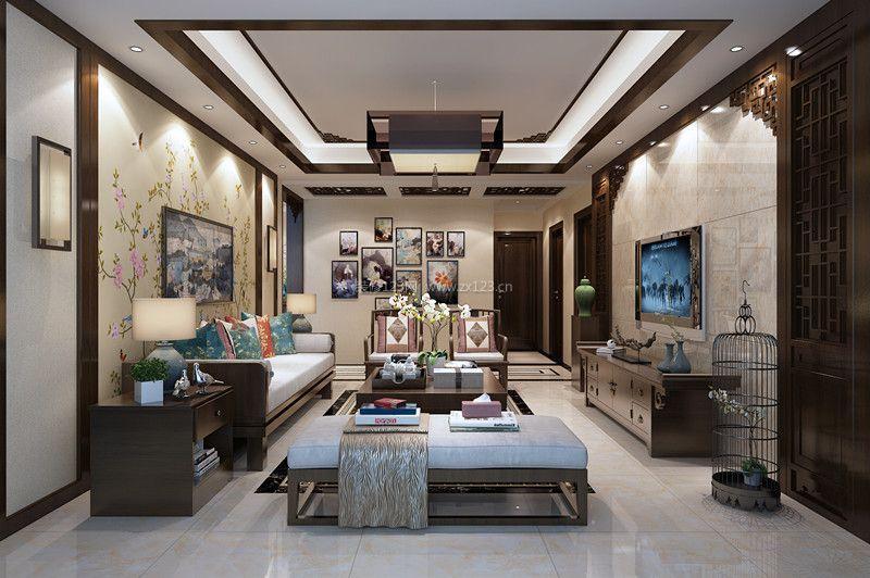 2017雅致新中式别墅客厅整体装修效果图