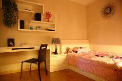2017现代女生卧室写字台书架装修效果图图片