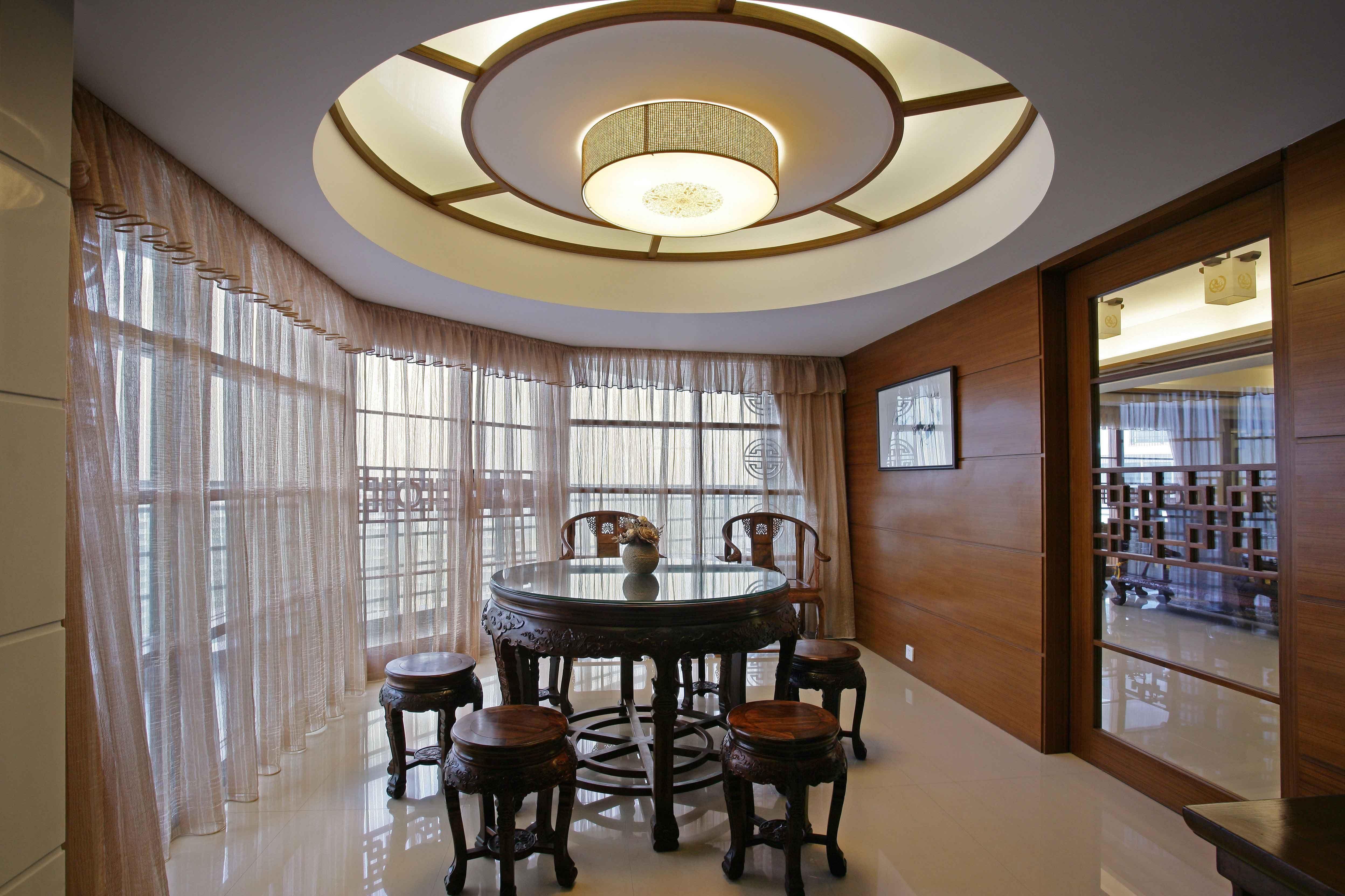 2017中式风格别墅餐厅吊顶设计图片欣赏_装修123效果图