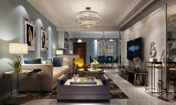 現代新房客廳瓷磚電視背景墻裝修效果圖