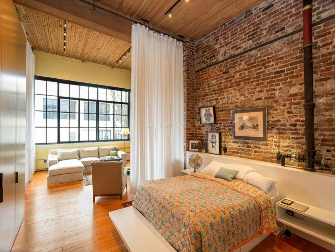 单身公寓卧室软帘隔断装修效果图