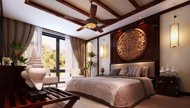 2017东南亚风格卧室吊顶装修效果图图片