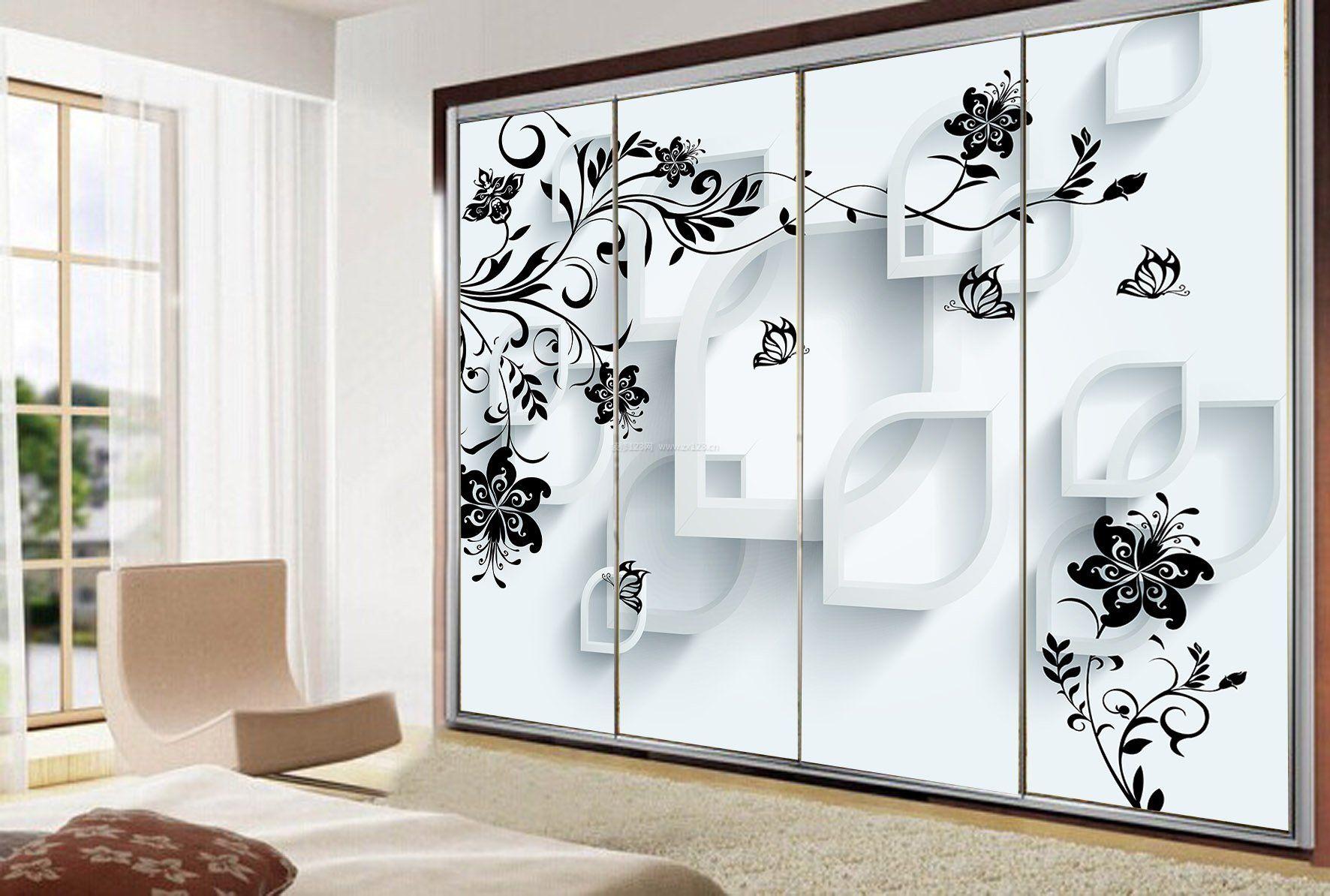 衣柜玻璃门3d效果图片大全