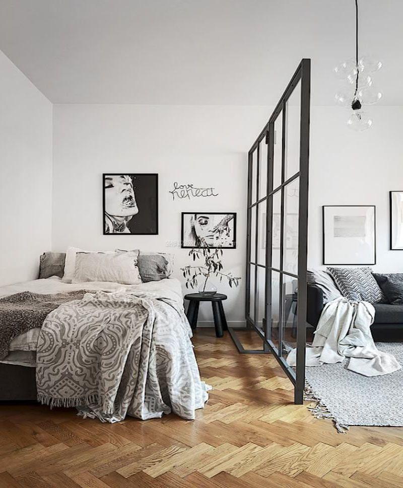 北欧风格客厅卧室玻璃隔断
