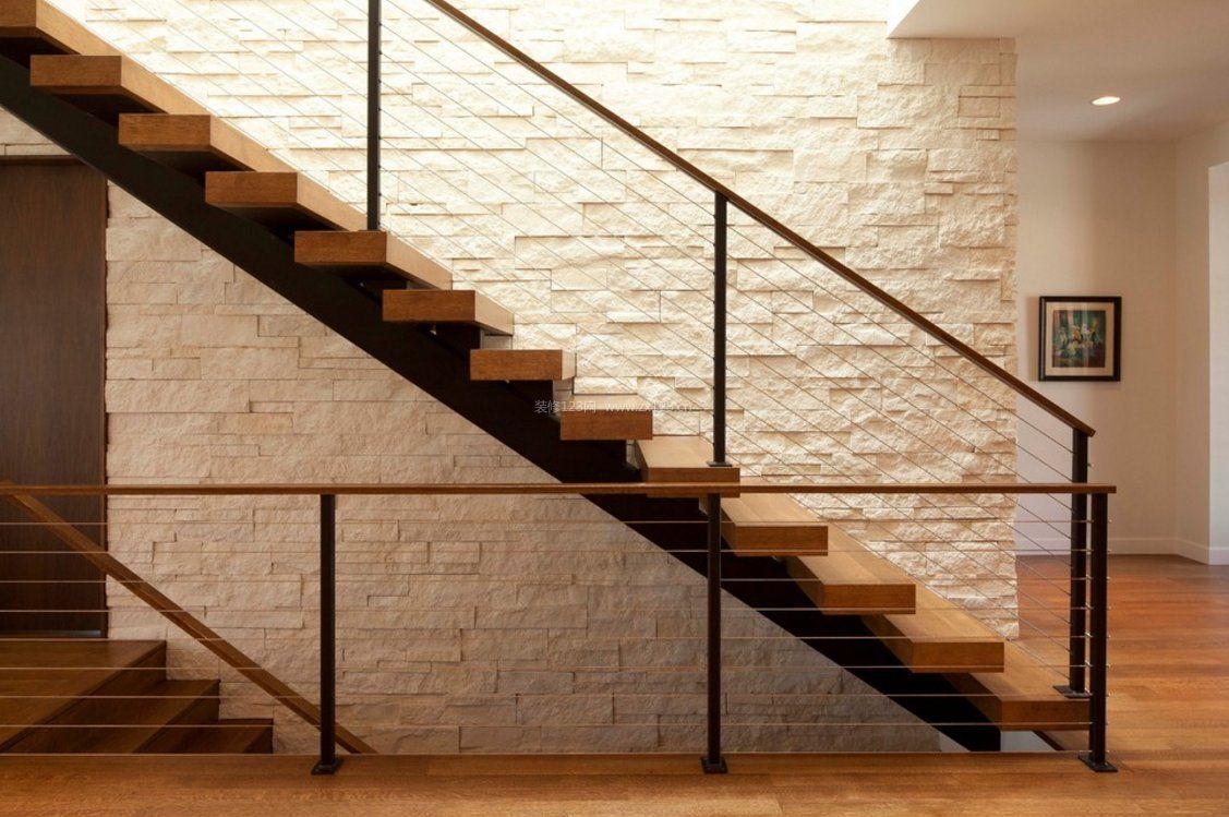 现代风格实木楼梯文化砖背景墙图片_装修123效果图图片