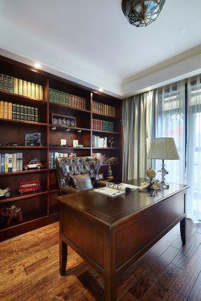 美式书房开放式书柜设计装修效果图片-农家乐饭店装修效果图片