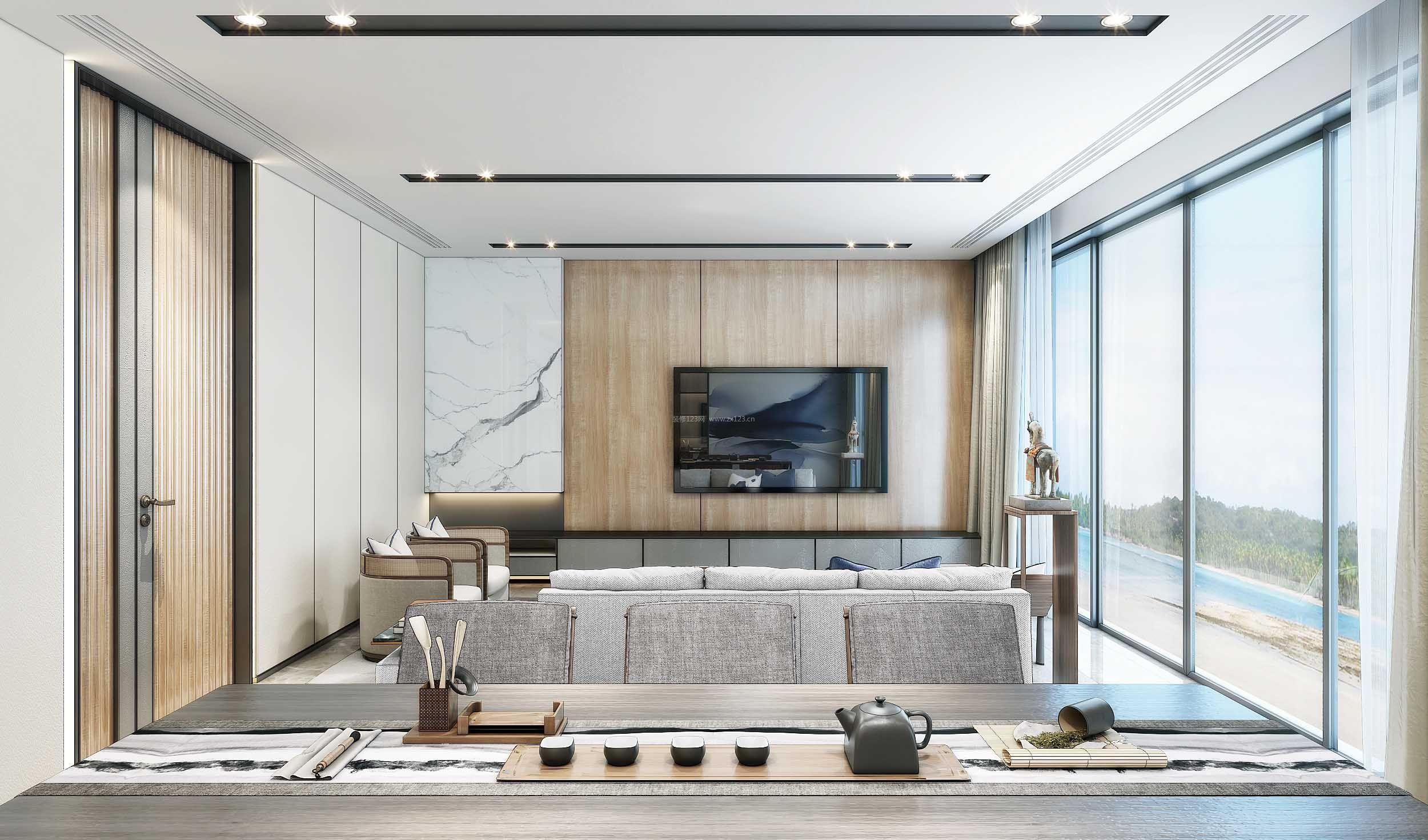 大客厅木质电视墙隔断效果图_装修123效果图