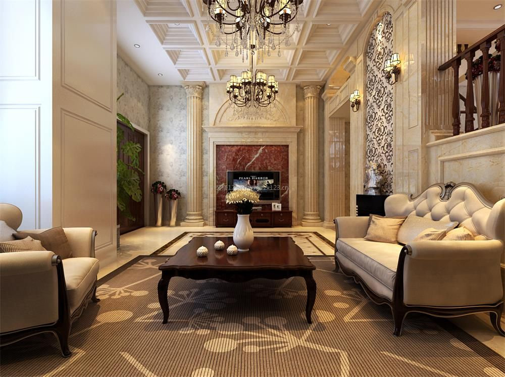 欧式比例农村大客厅电视墙效果图_装修123效果图别墅别墅层高复式图片
