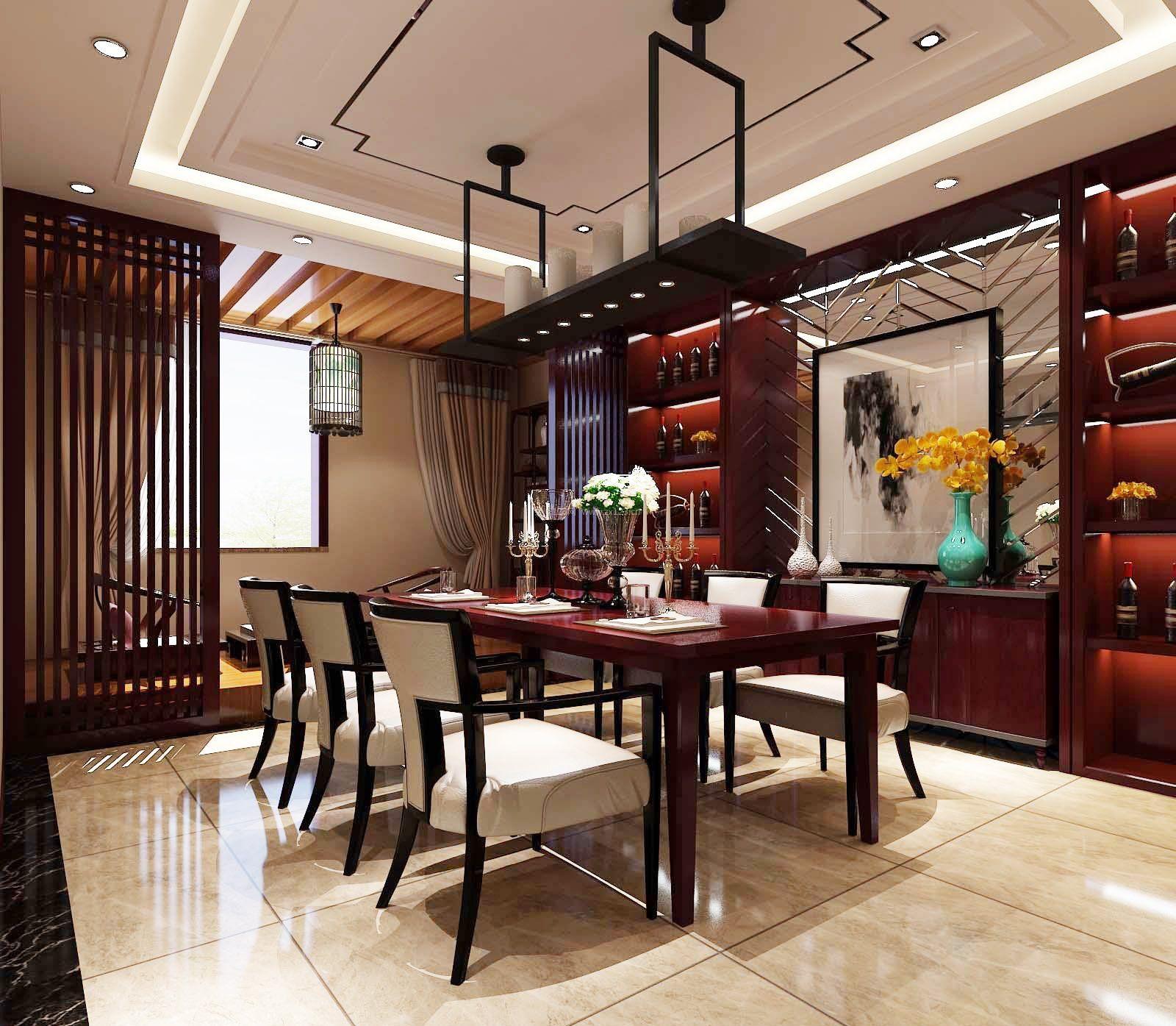 家用中式餐桌酒柜装修图片大全图片