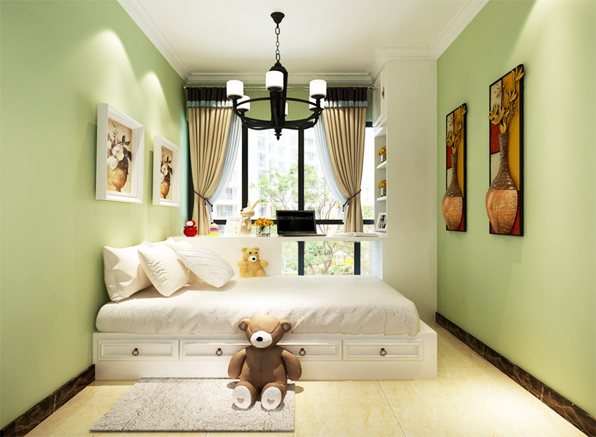 浅紫卧室墙面漆效果图_淡紫色卧室