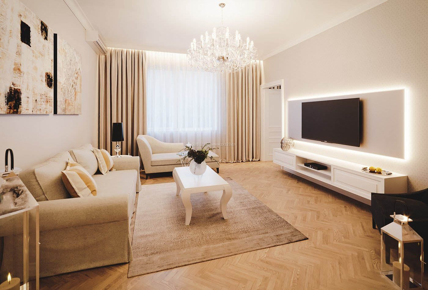 后现代客厅仿木纹地板装修效果图大全