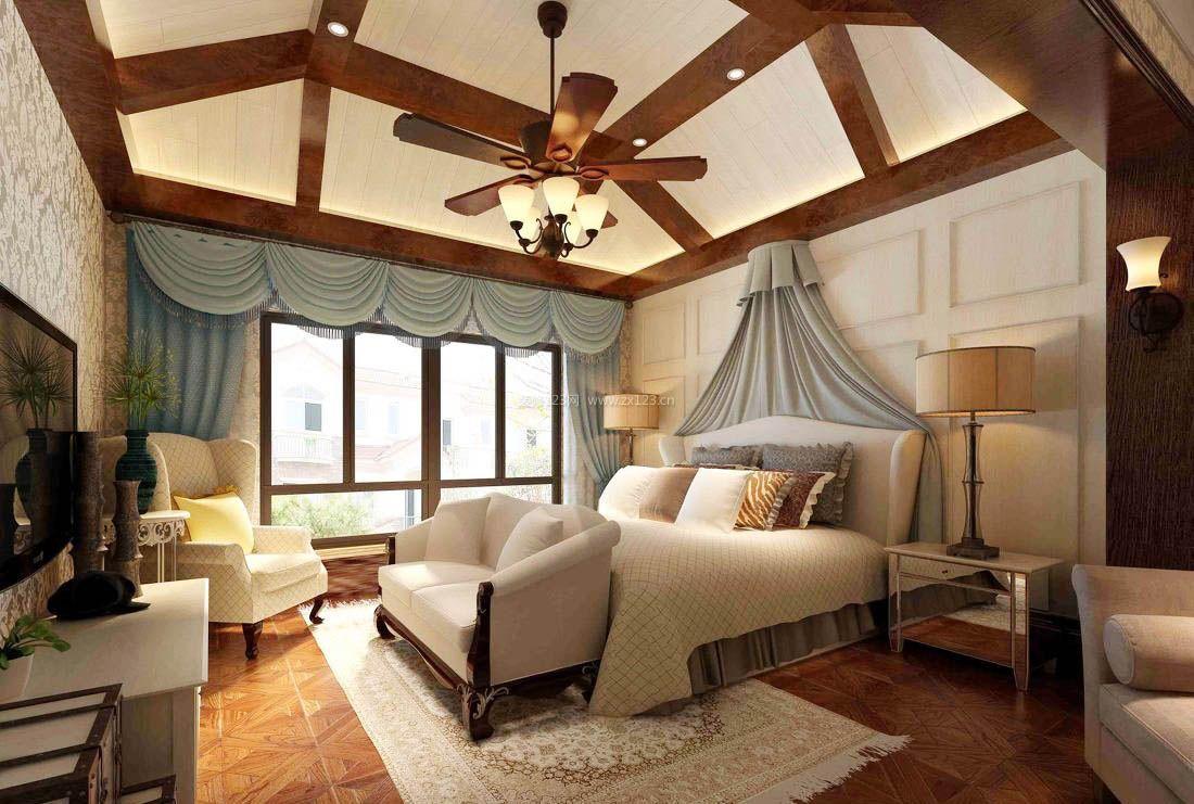美式风格实木小卧室吊顶设计装修效果图