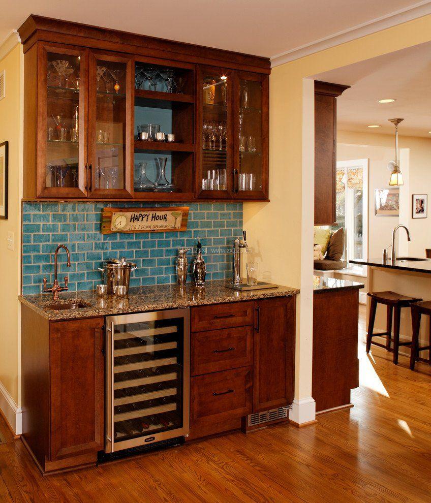 家庭美式小酒柜造型设计图片_装修123效果图