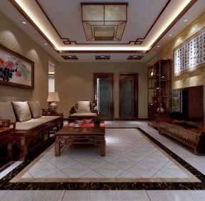 2017经典中式客厅效果图 客厅地板砖效果图