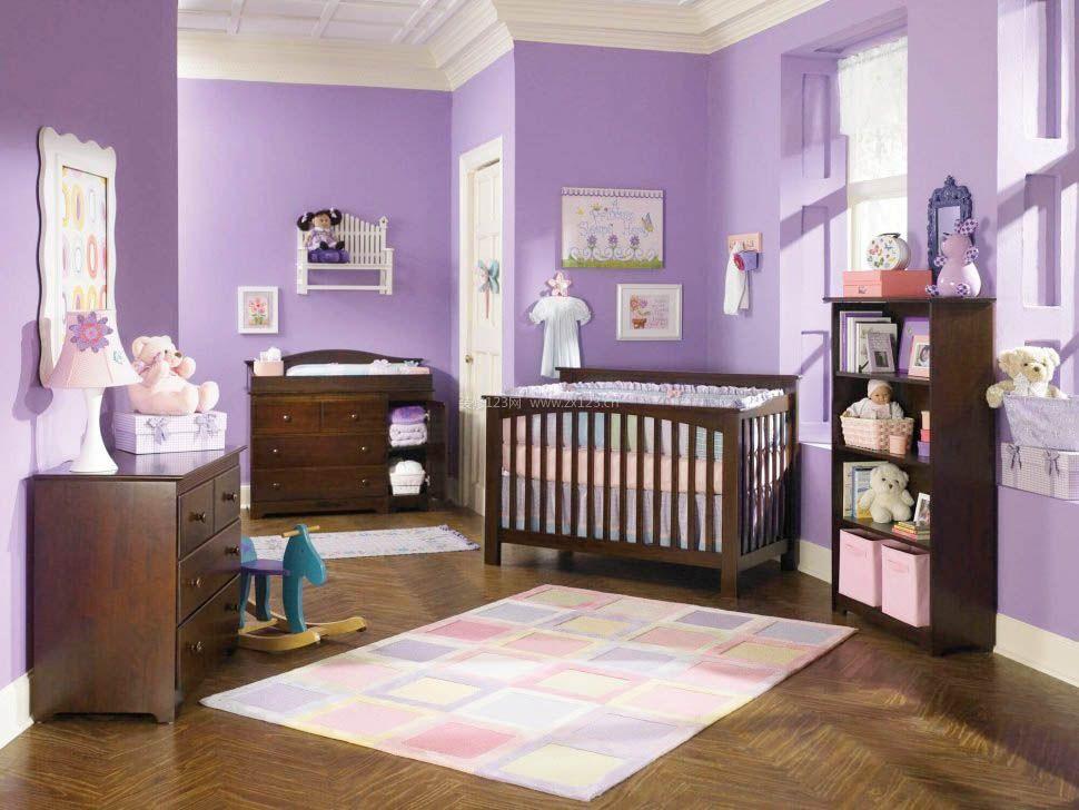 浅紫色房间古典婴儿房设计