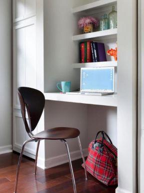 现代室内简约电脑桌带书架效果图-2017书房简易墙上书架设计图