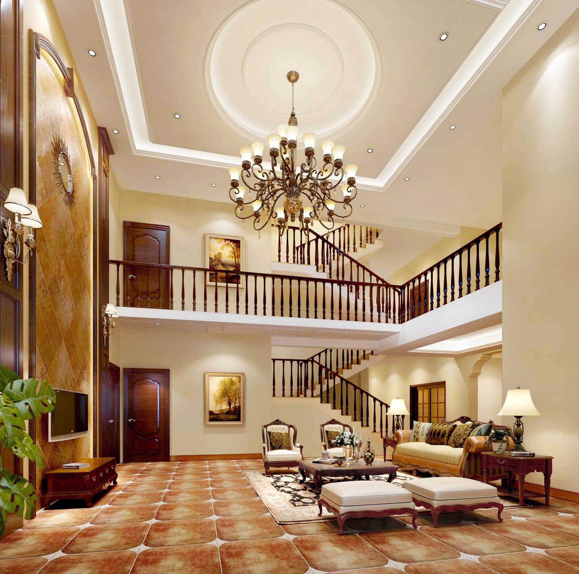 美式扶手楼梯设计室内效果图_要求123效果图建筑设计装修出国图片