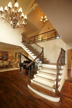 美式大别墅楼梯扶手设计_装修123效果图