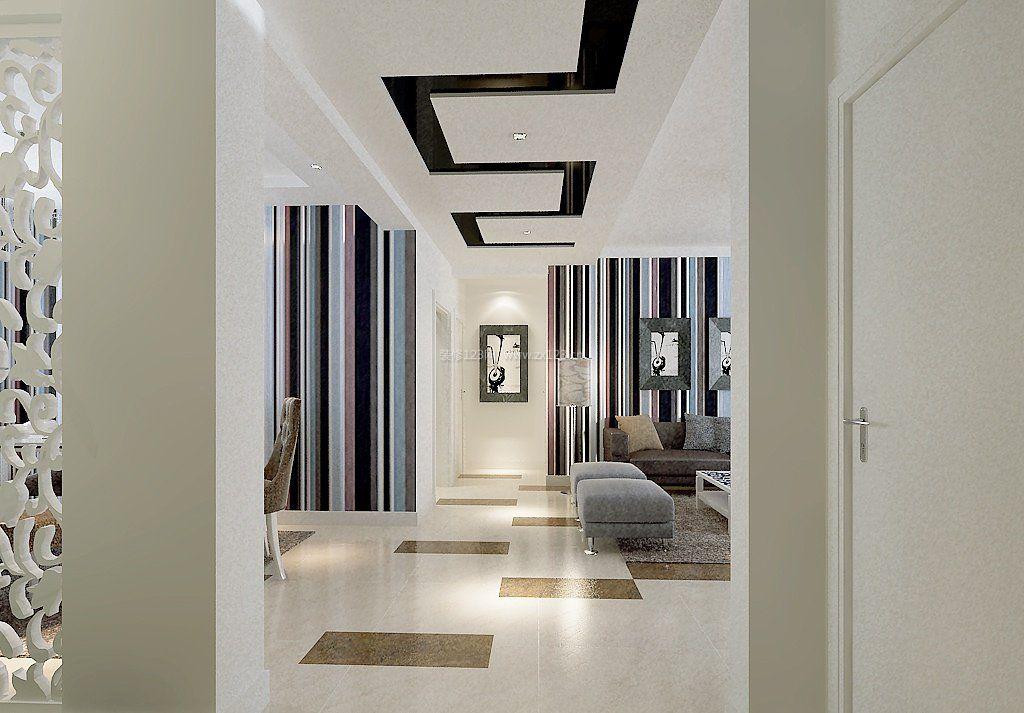 现代简约风格过道走廊吊顶效果图_装修123效果图
