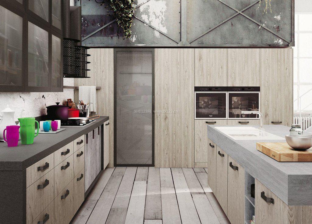 小厨房组合橱柜简约设计图片_装修123效果图