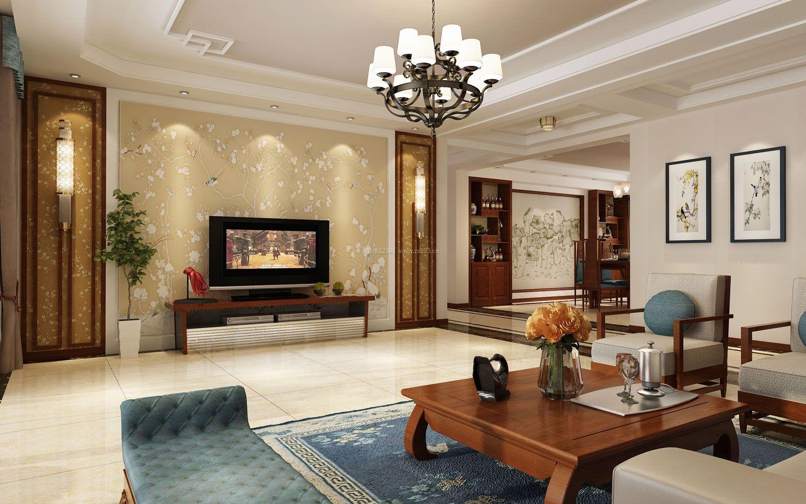 2017新中式客厅壁纸电视机背景墙装修效果图片大全图片