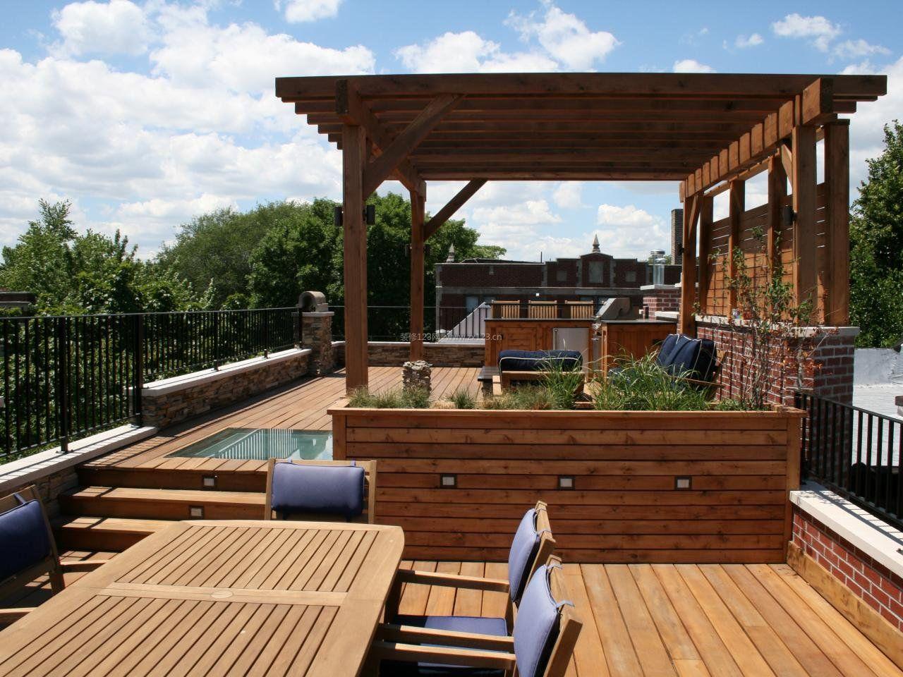别墅屋顶花园木质装修平面图大全_装修123效果图