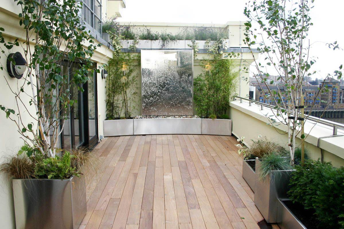别墅屋顶花园浅色木地板装修平面图_装修123效果图