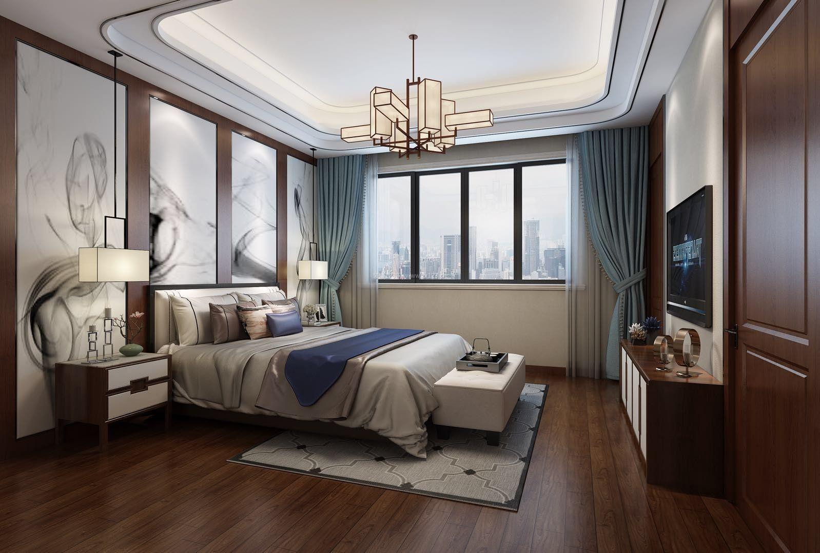 中国乡村风格卧室床头手绘装修_装修123效果图