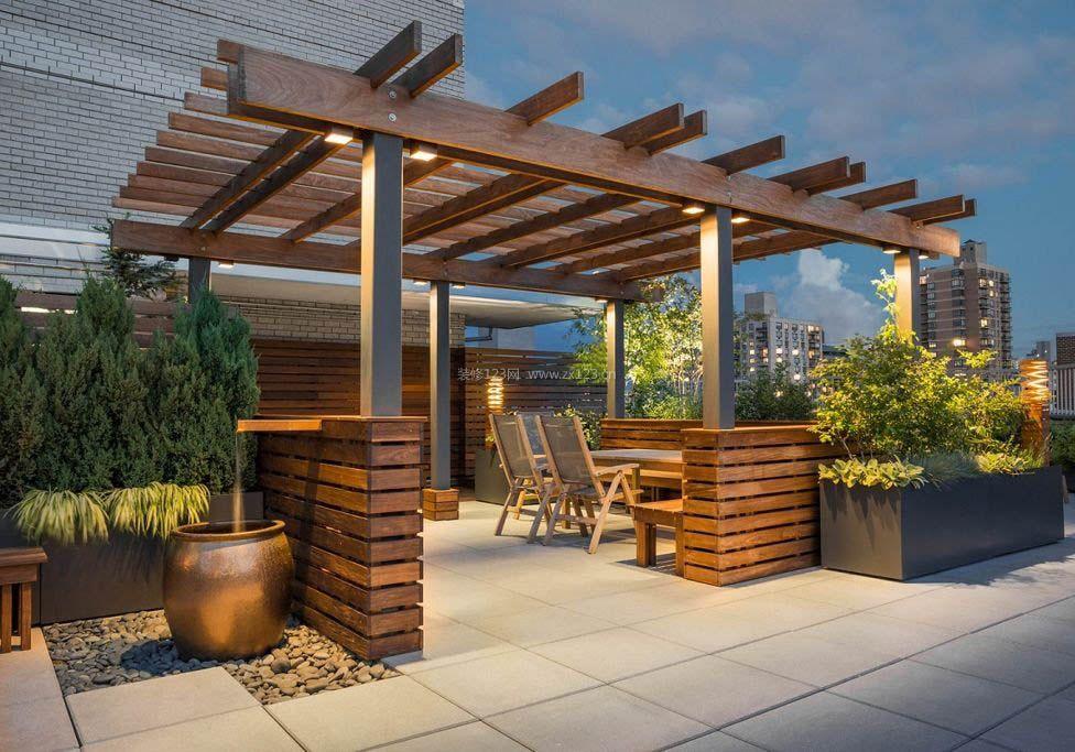 别墅屋顶花园实木设计平面效果图