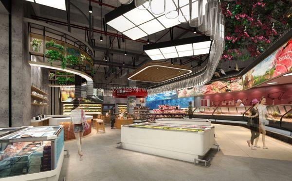 大型生鲜超市货架摆放设计图片
