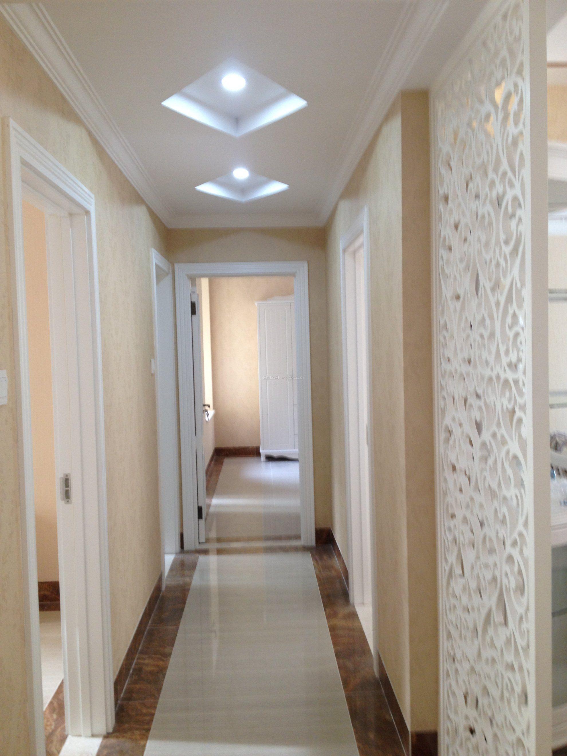 简欧风格室内小走廊菱形吊顶效果图