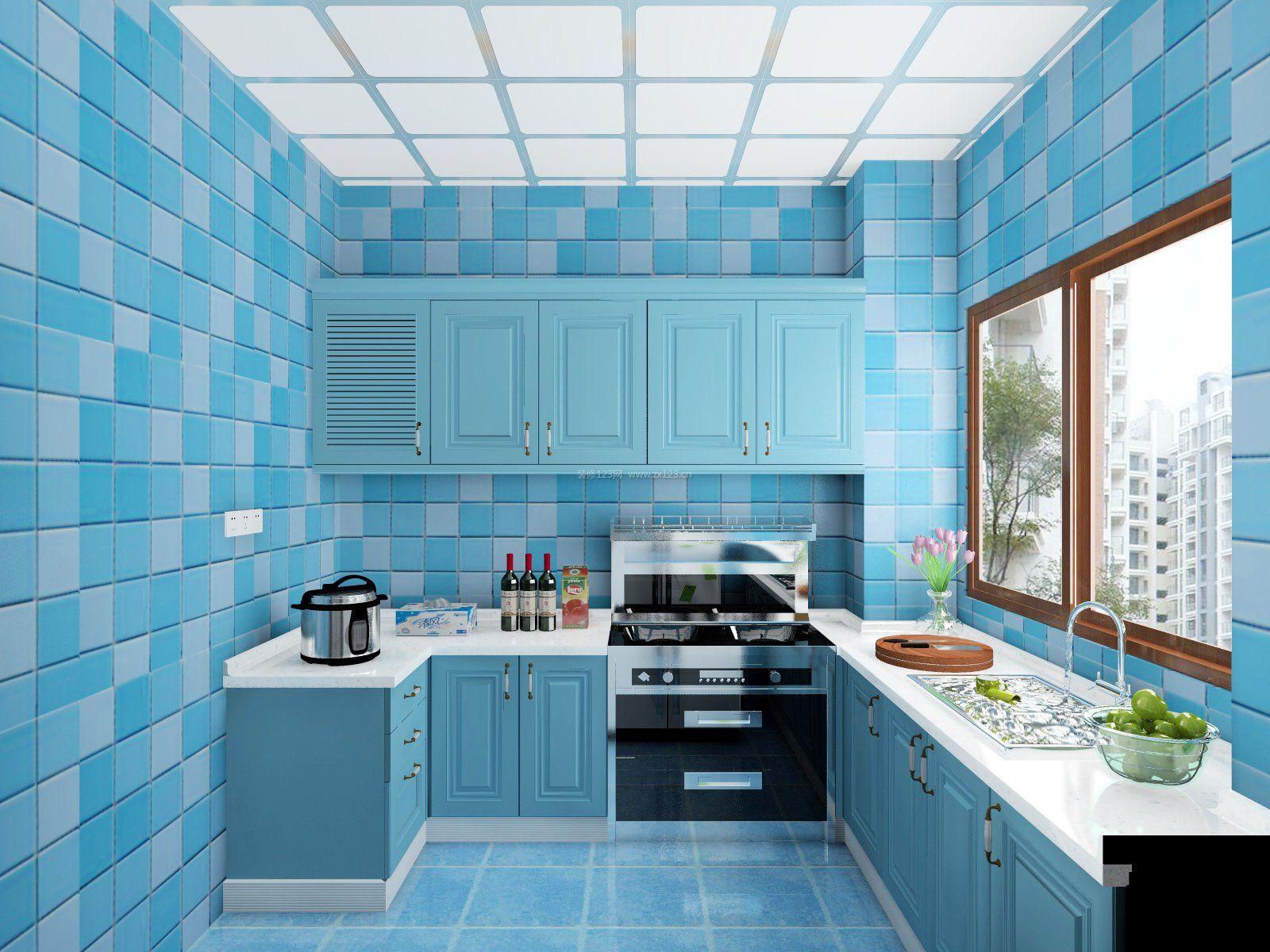 2017地中海风格蓝色厨房墙砖贴图
