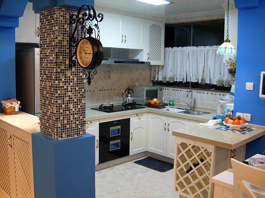 2017地中海风格小厨房墙砖贴图_装修123效果图