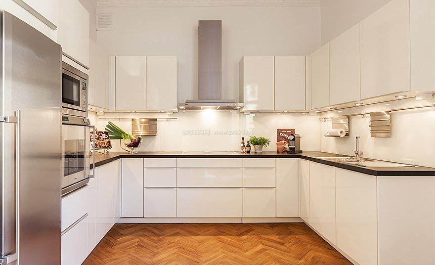 u型无窗厨房白色装修效果图图片