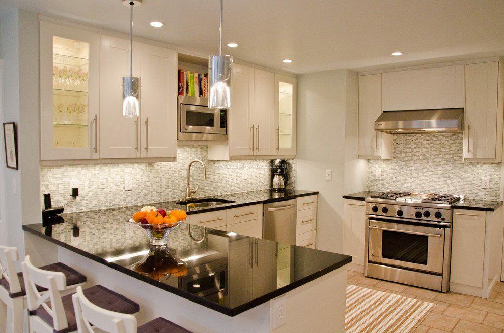 简欧式风格u型无窗厨房装修效果图图片