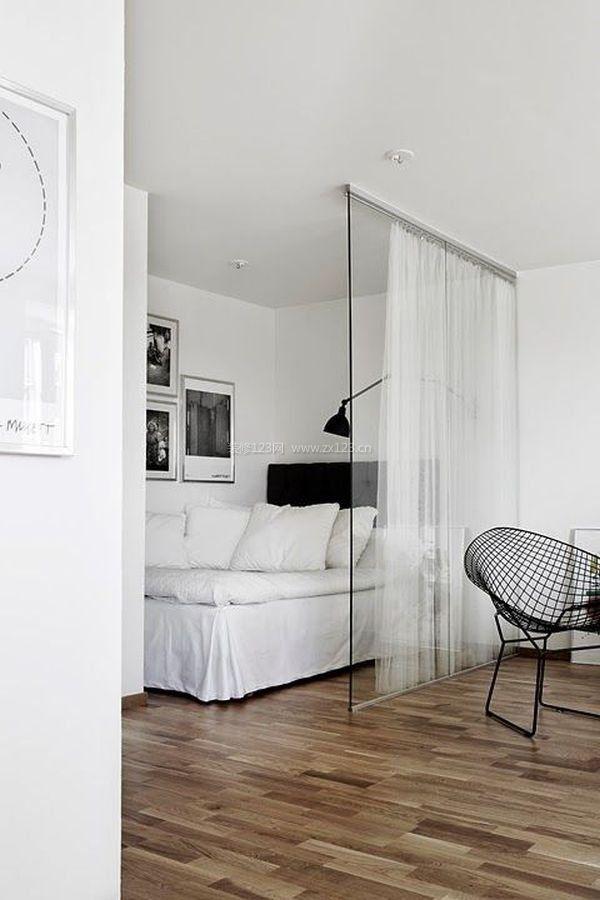 极简卧室设计隔断小户型客厅卧室隔断图片2