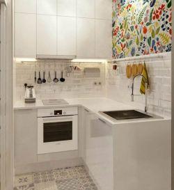 小戶型u型無窗廚房裝修效果圖片2017