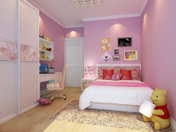 卧室粉色墙面漆效果图