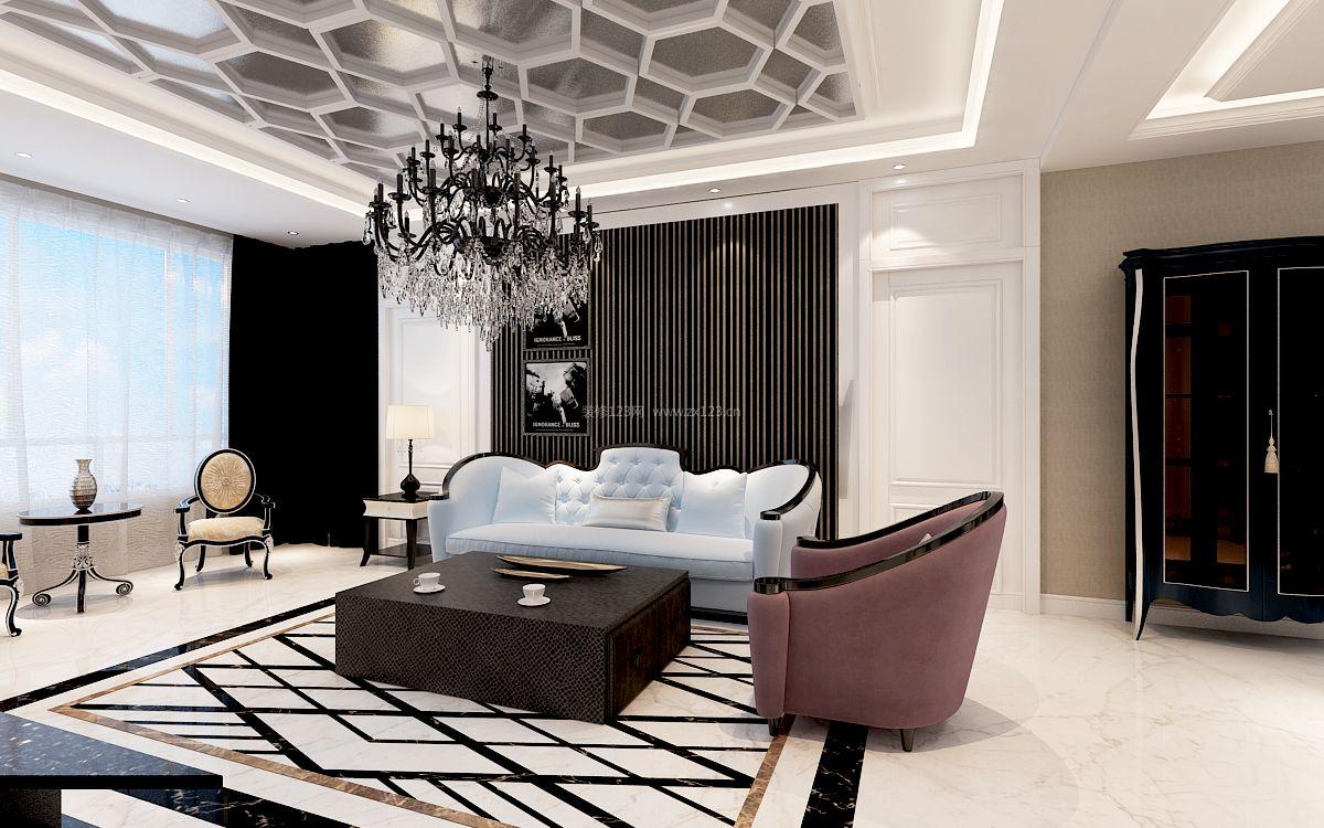 2017现代奢华客厅吊顶设计装修效果图大全