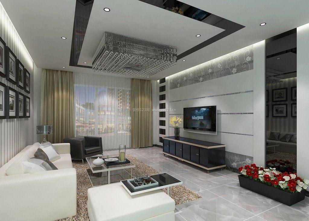 2017简约二居客厅黑白风格装修效果图